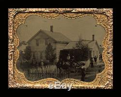 Tintype Photo 1860s Civil War Era Busy Outdoor House Scene Girl with Doll Horses