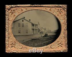 Tintype Photo 1860s Civil War Era Outdoor Town Street Scene Signs Pedestrians
