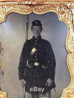 Tintype of Armed Civil War Soldier Standing