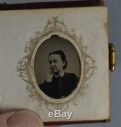 Tintype photo album miniature 23 portrait 1 doll house Civil War Era antique
