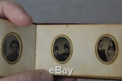 Tintype photo album miniature 35 gem 1 in Civil War Era portraits 1800 antique