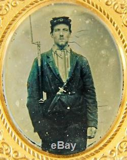 Two Antique Photo Photographs New Hampshire CIVIL War Soldiers Ambrotype Tintype
