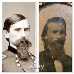 Two Tintypes Civil War General Lew Wallace Military Ben-hur Photo Signed In Case