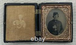 US Civil War 1/9 Plate Tintype Soldier Portrait Antique Tin Photo