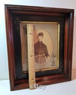 Union Army Civil War soldier, large framed photo, uniform, pistol, gun, belt #1