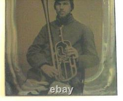 Union Identified Tintype Civil War Musician Photo, Soldier with Saxhorn, 10th Reg