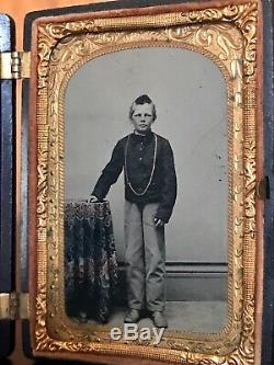 Very Rare CDV 1/8 Plate Union Case & Tinted Tintype Of Boy In CIVIL War Jacket