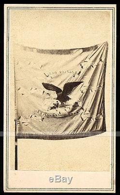 Very Rare Photo Battle Flag of IRON BRIGADE Civil War Soldiers by Alex. Gardner