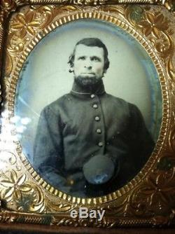 Victorian Antique CIVIL War Soldier Image 1/6 Plate Tintype 9th Nhv
