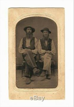 Vintage Antique Tintype Civil War Photo Confederate Dixie Rebel Warrior Soldiers