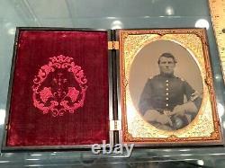 Washington Case Neff 1/2 Plate Civil War Cavalry Officer Soldier Sword Flag Tint