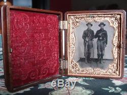 Wonderful CIVIL War 6th Plate Tintype Of Two Federal Artillerymen