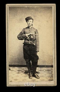 YOUNG Armed Civil War Soldier Holding Gun Champlain New York 1860s CDV Photo